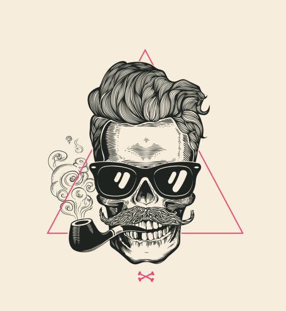 sailor cool skull smoke pipe vector t-shirt print. modern mustache skeleton face in sunglasses. urban style hair geometric poster. monochrome hipster head black silhouette - old man smoking pipe drawing stock illustrations, clip art, cartoons, & icons