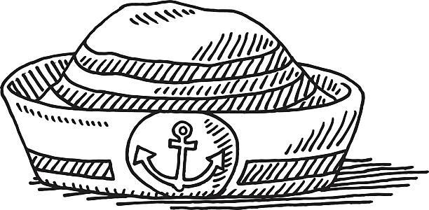 matrose mütze anchor symbol abbildung - matrosenmütze stock-grafiken, -clipart, -cartoons und -symbole