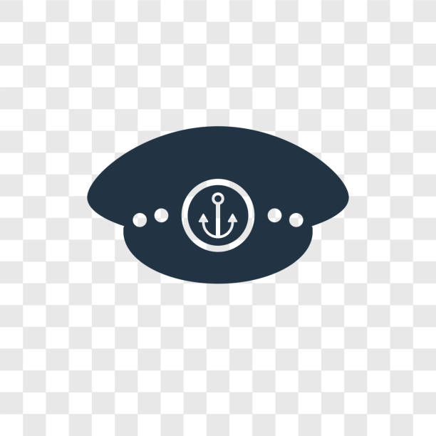 matrosen hut vektor icon isoliert auf transparenten hintergrund, sailor hat transparenz-logo-design - matrosenmütze stock-grafiken, -clipart, -cartoons und -symbole