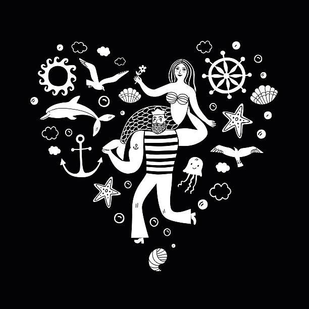 illustrazioni stock, clip art, cartoni animati e icone di tendenza di sailor holding mermaid, heart shape illustration - immerse in the stars