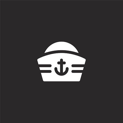 sailor icon. Filled sailor icon for website design and mobile, app development. sailor icon from filled sea life collection isolated on black background.