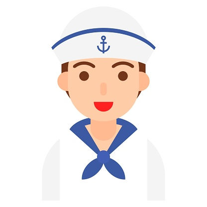 Sailor icon, profession and job vector illustration