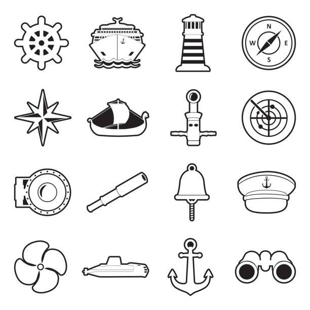 illustrazioni stock, clip art, cartoni animati e icone di tendenza di sailor icons. line with fill design. vector illustration. - immerse in the stars