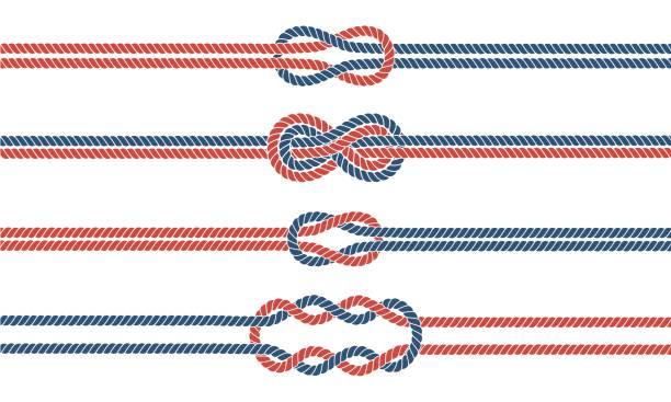 stockillustraties, clipart, cartoons en iconen met matroos knoop en touw scheidingslijnen en randen instellen - touw