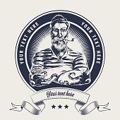 istock sailor label wood cut 1217779187