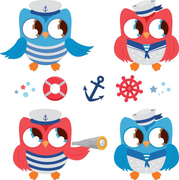 seemann eulen marine nautik satz - matrosenmütze stock-grafiken, -clipart, -cartoons und -symbole