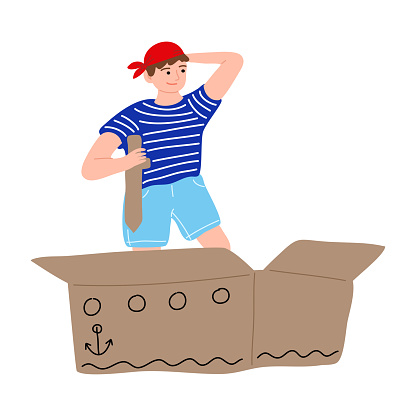 Sailor pirate kid playing holding sword on cardboard box ship. Vector illustration in cartoon style