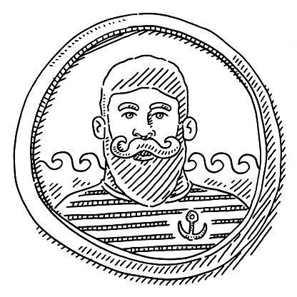 Sailor Portrait In Round Frame Drawing