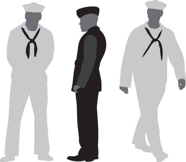 Sailor Silhouettes Vector silhouettes of three sailors in uniform. military uniform stock illustrations