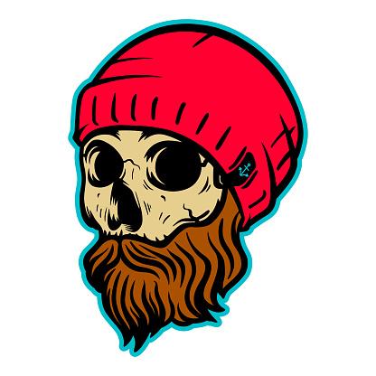 Sailor skull with beard vector illustration isolated on white background