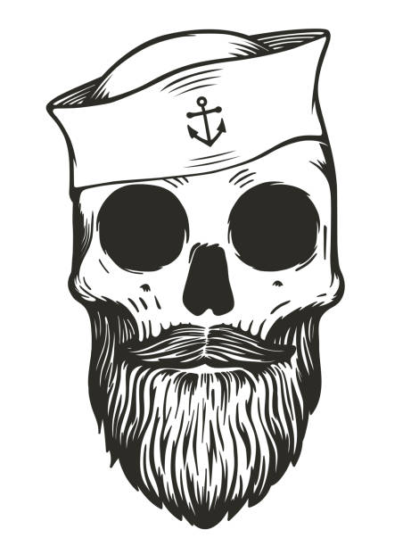 illustrations, cliparts, dessins animés et icônes de crâne de marin avec la barbe et moustache portant chapeau de marin - tatouages marins