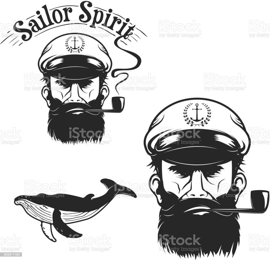 Sailor Spirit.  Sea Captain head. Whale. Design element for