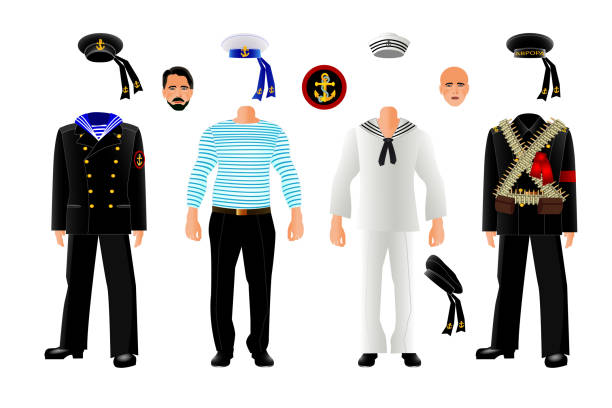 matrosen uniform set, vektor - matrosenmütze stock-grafiken, -clipart, -cartoons und -symbole