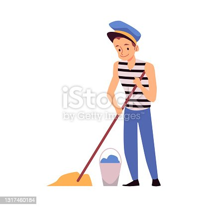 Sailor washing deck with mop and water from bucket a vector isolated illustration