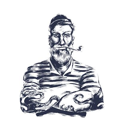 sailor wood cut