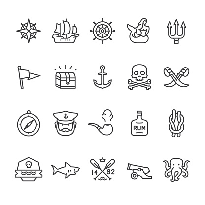 Sailors Historical related vector icons.