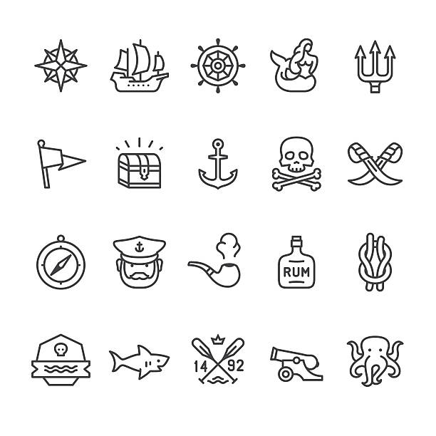sailors historical vector icons - pirates stock illustrations, clip art, cartoons, & icons