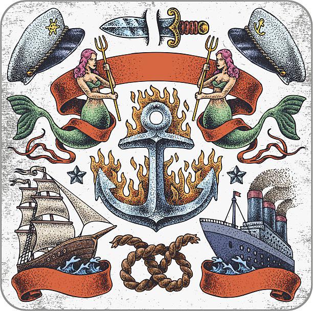 Tatouage Sailors'ensemble. - Illustration vectorielle