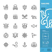 Sailors tattoo theme, outline vector icons - PRO pack