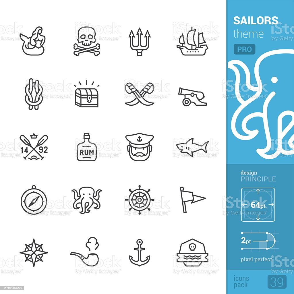 Sailors tattoo theme, outline vector icons - PRO pack - ilustración de arte vectorial