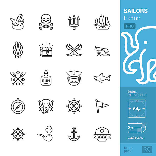 Sailors tattoo theme, outline vector icons - PRO pack – Vektorgrafik
