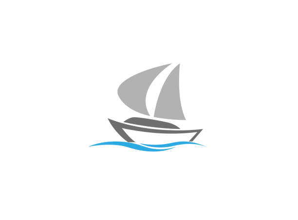 Sails boat in the sea, yacht sailing logo vector art illustration