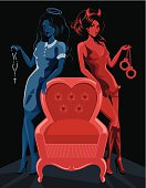 Saint and sinner with empty armchair. Eps and hi-res jpg.