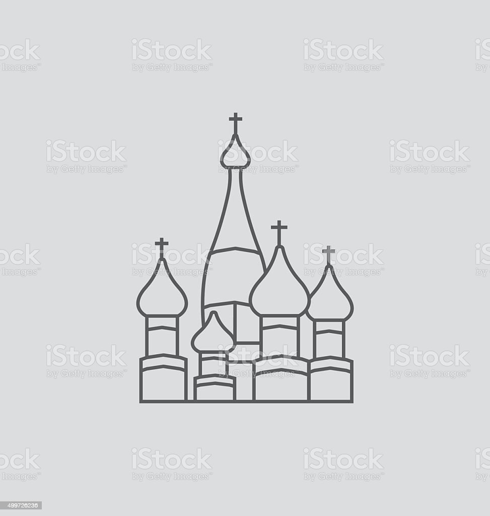 Basilius Kathedrale bietet. Linie Illustrationen – Vektorgrafik