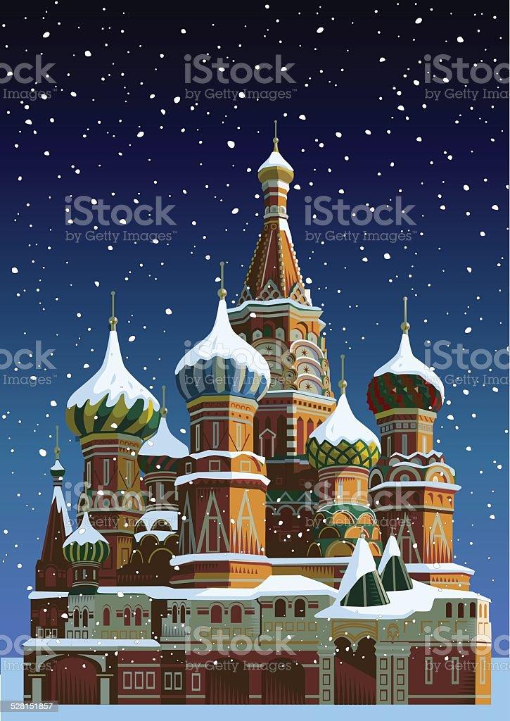 Basilius-Kathedrale an Weihnachten-Moscow – Vektorgrafik