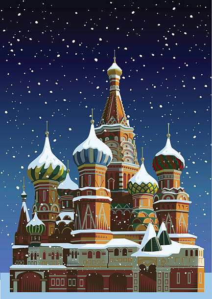 Saint Basil's cathedral at Christmas - Moscow Saint Basil's cathedral with snow. Eps 10 file CS3 and CS5 in zip. kremlin stock illustrations