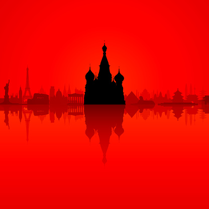 Saint Basil's Cathedral in Red and City, Moscow