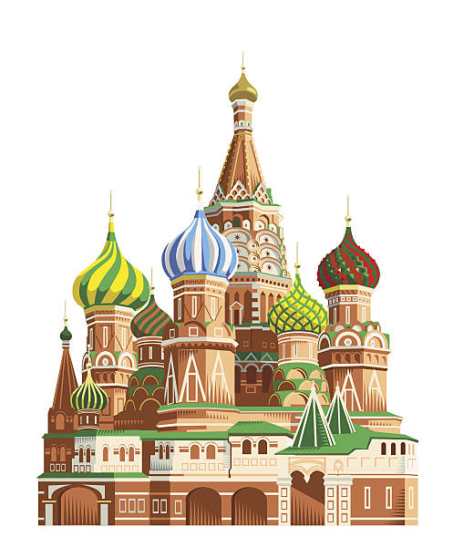 Saint Basil's cathedral - Moscow Saint Basil's cathedral in traditional crosshatch style. Eps 10 file, Freehand, CS3 and CS5 in zip. kremlin stock illustrations