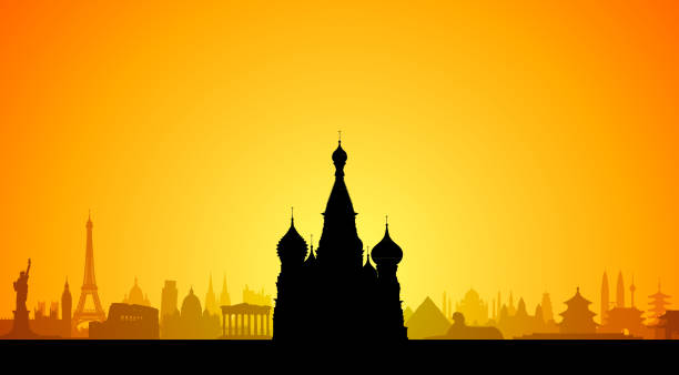 Saint Basil's Cathedral, Moscow Saint Basil's Cathedral in Moscow, with famous world monuments behind. kremlin stock illustrations