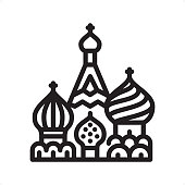 Saint Basil's Cathedral, Kremlin, Red square, Moscow — Professional outline black and white vector icon. Pixel Perfect Principle - icon designed in 64x64 pixel grid, outline stroke 2 px.\n\nComplete Outline BW board — https://www.istockphoto.com/collaboration/boards/74OULCFeYkmRh_V_l8wKCg