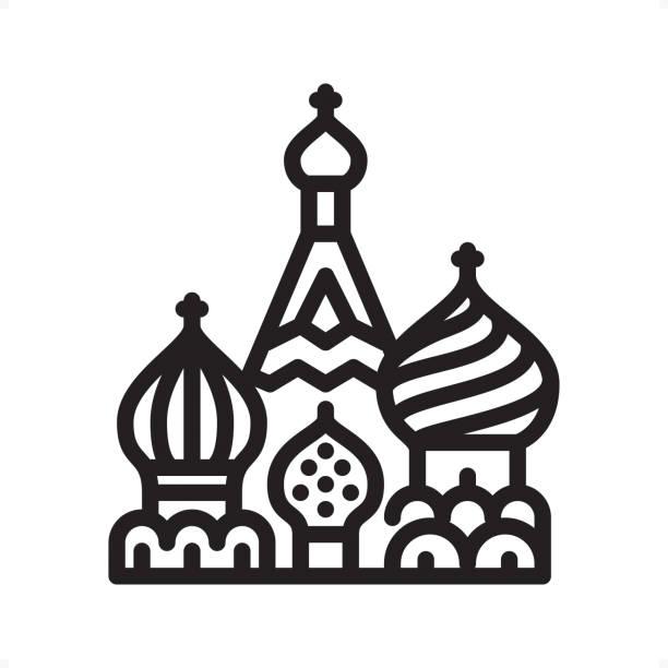 Saint Basil's Cathedral - Outline Icon - Pixel Perfect Saint Basil's Cathedral, Kremlin, Red square, Moscow — Professional outline black and white vector icon. Pixel Perfect Principle - icon designed in 64x64 pixel grid, outline stroke 2 px.  Complete Outline BW board — https://www.istockphoto.com/collaboration/boards/74OULCFeYkmRh_V_l8wKCg kremlin stock illustrations