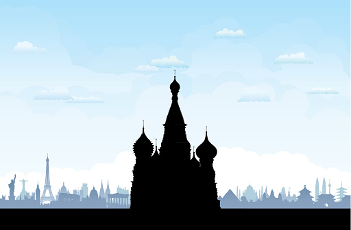 Saint Basil's Cathedral Silhouette, Moscow, with Monuments Behind