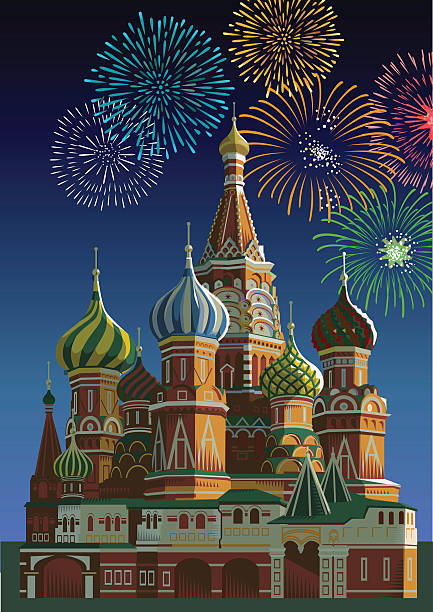 Saint Basil's cathedral with fireworks - Moscow Saint Basil's cathedral with fireworks. Eps 10 file CS3 and CS5 in zip. kremlin stock illustrations