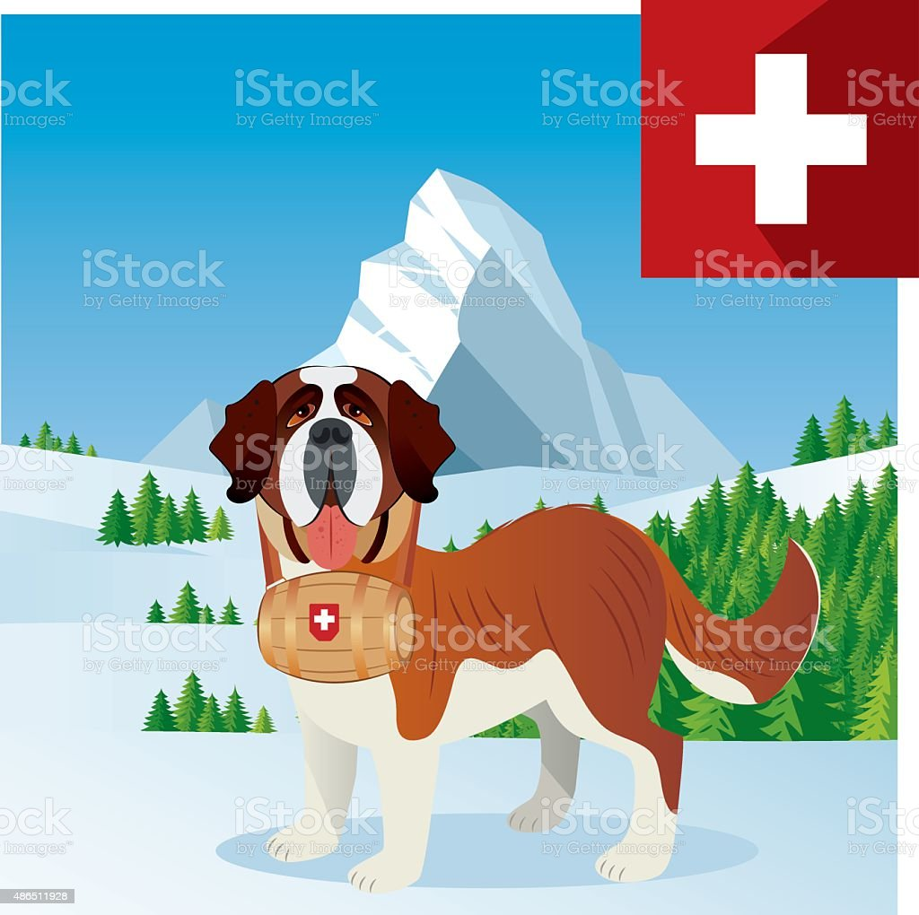 Saint Bernard and mountain vector art illustration