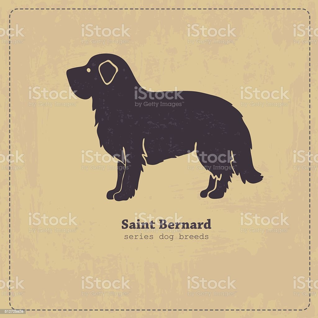 Saint Bernard  dog silhouette vector art illustration