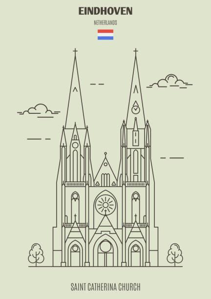 stockillustraties, clipart, cartoons en iconen met sint catherina kerk in eindhoven, nederland. landmark pictogram - eindhoven
