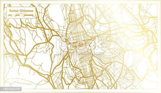 istock Saint Etienne France City Map in Retro Style in Golden Color. 1304303757