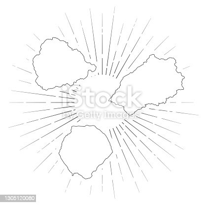 Map of Saint Helena, Ascension and Tristan da Cunha created with a thin black outline and  light rays. Trendy and modern illustraion isolated on a blank background. Vector Illustration (EPS10, well layered and grouped). Easy to edit, manipulate, resize or colorize.