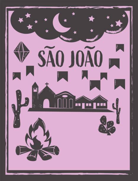 stockillustraties, clipart, cartoons en iconen met saint john sao joao partij achtergrond vector met kopieerruimte - houtgravure