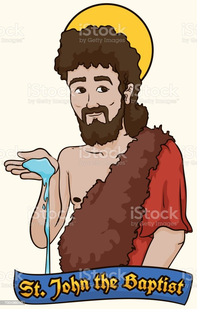 Saint John the Baptist holding Water over a Label
