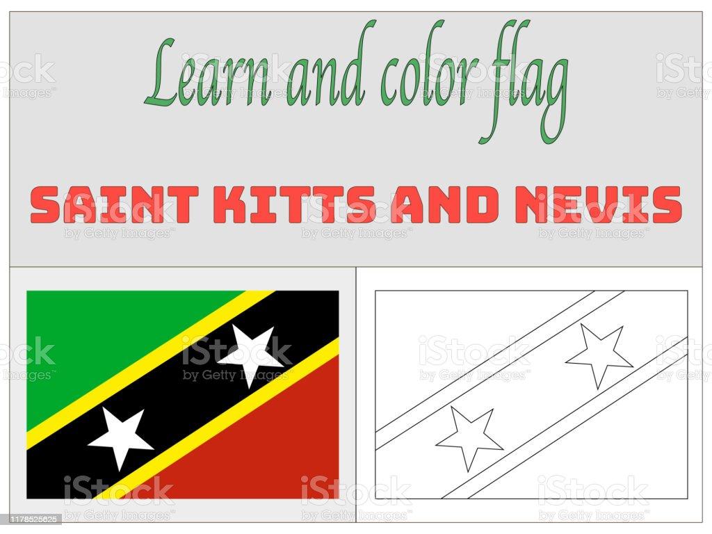 Saint Kittis Ve Nevis Ulusal Bayrak Boyama Kitap Egitim Ve Ogrenme