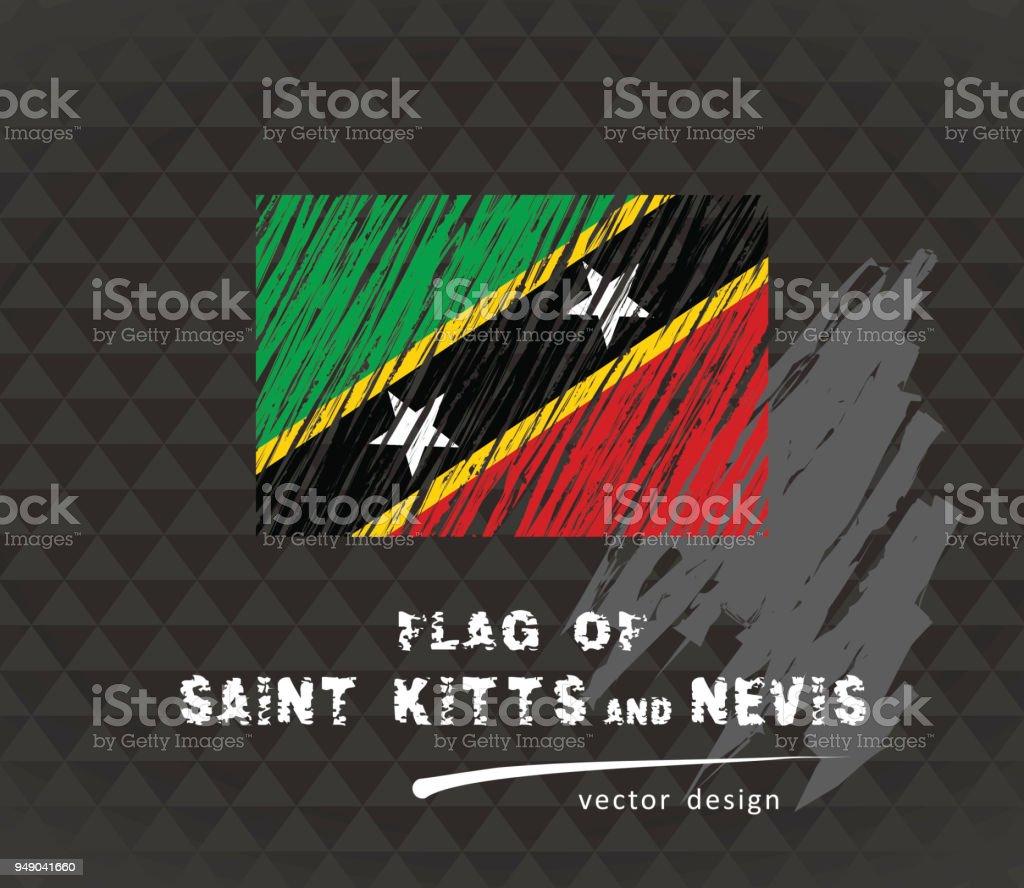 Saint Kitts and Nevis flag, vector sketch hand drawn illustration on dark grunge background vector art illustration