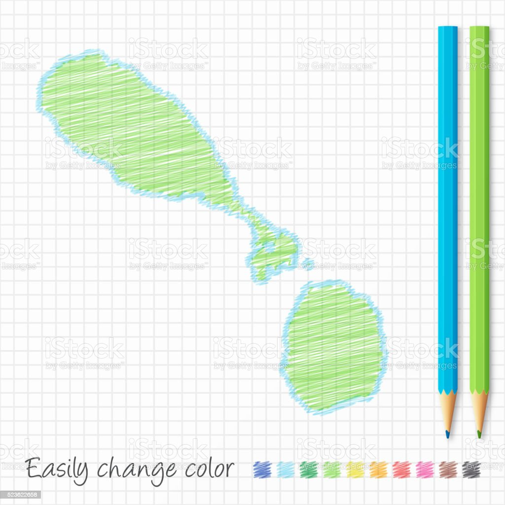 saint kitts and nevis map sketch color pencils grid paper stock
