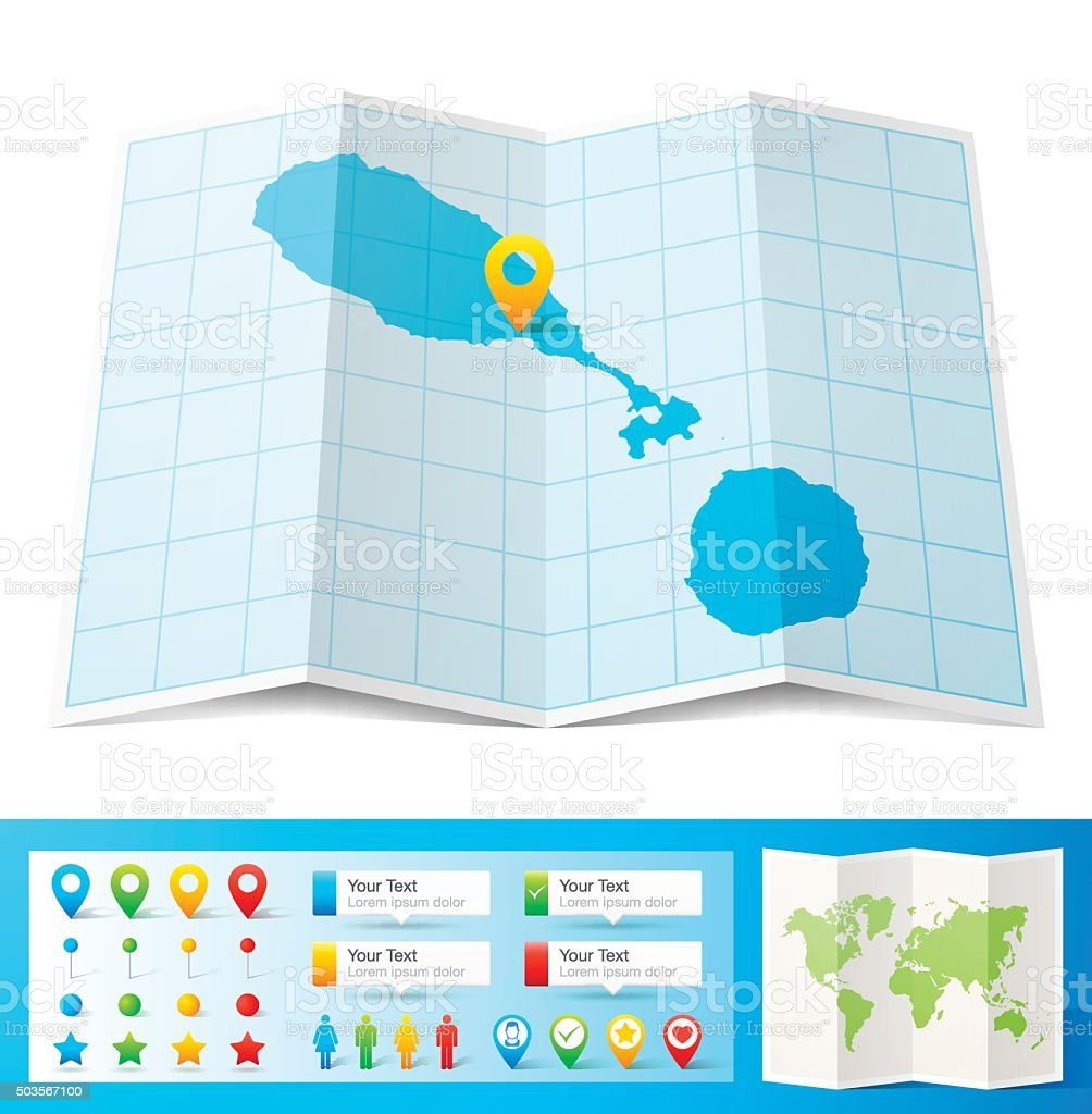 Saint Kitts And Nevis Map With Location Pins White Background Stock ...