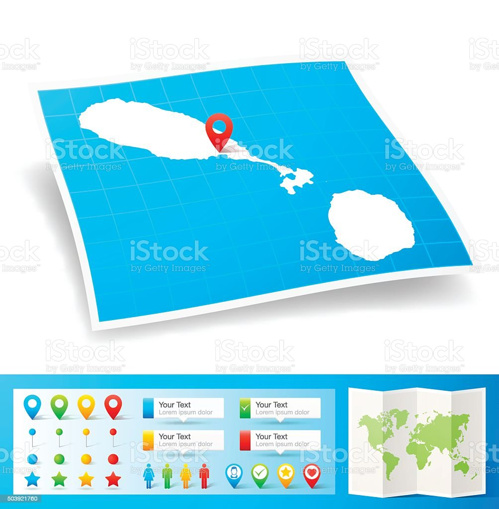 Saint Kitts And Nevis Map With Location Pins White ...