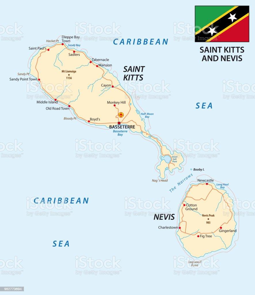 Ilustracion De Mapa De Saint Kitts Y Nevis Y Mas Vectores Libres De